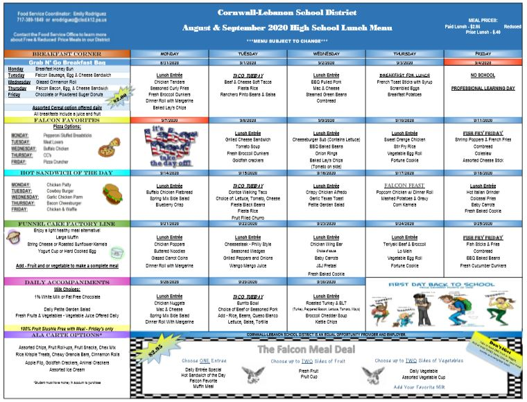 AUG-SEPT CCHS Menu