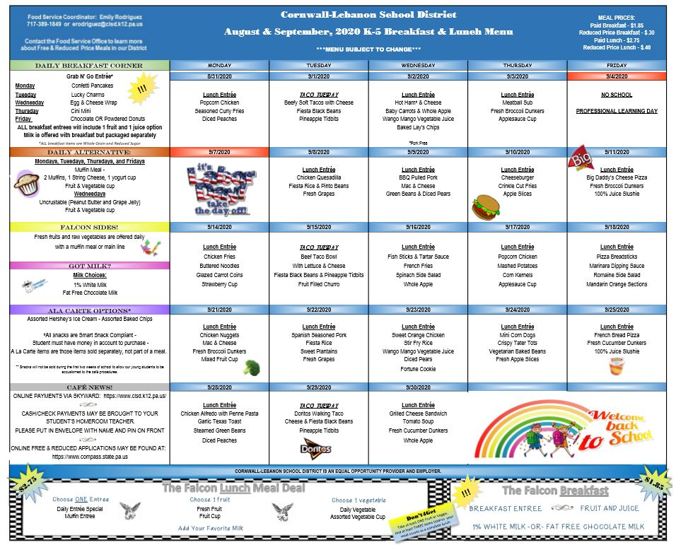 AUG-SEPT Elem Menu